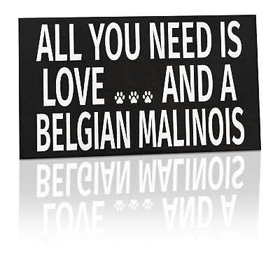JennyGems - All You Need is Love and a Belgian Malinois - Wooden Sign,...