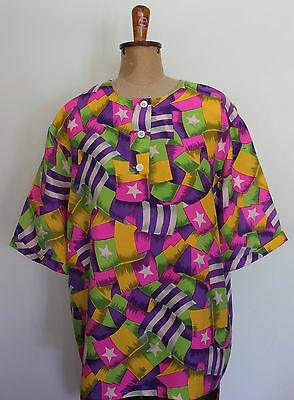 VINTAGE 1980's French Silk Stars & Stripes Lime Purple Pink Green Top Blouse 16
