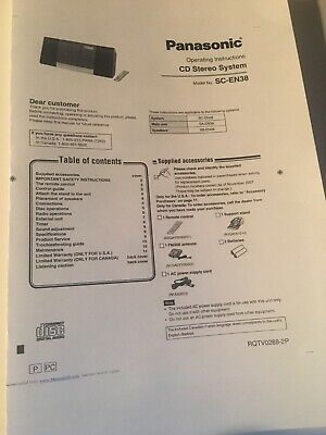 Panasonic SA-EN38 CD Stereo System Owners Instruction Manual