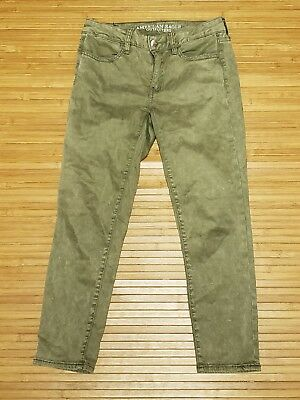 d6797987dc915 American Eagle Outfitters Olive Jegging Crop AEO Sateen Pants Womens sz 4  Long