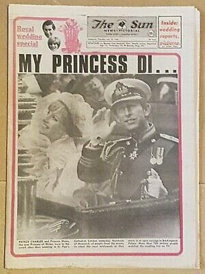 THE SUN newspaper CHARLES+DIANA Wedding Souvenir Edition July 30th,1981 as new