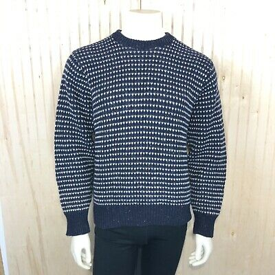 Northern Isles Men Large Vintage USA Made Blue White Striped Wool Knit Sweater