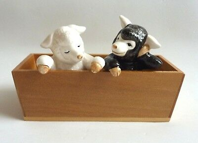 Vtg Fitz & Floyd Sheep Lamb in a Trough Salt & Pepper Shakers Rare Collectible