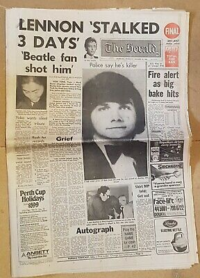 The HERALD Dec 10th.1980 JOHN LENNON shooting Front section of paper in VGC
