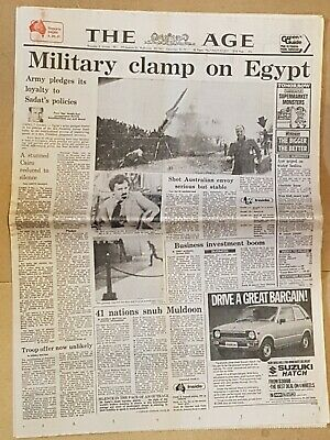 The Age Oct. 8th.1981 President SADAT shooting Front section of paper in VGC
