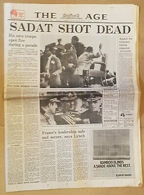 The Age Oct. 7th.1981 President SADAT shooting Front section of paper in VGC