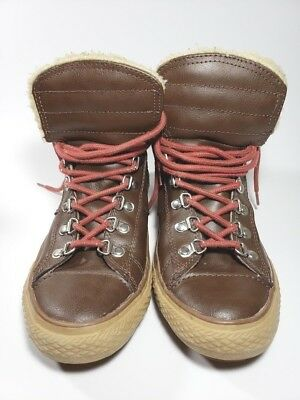 f9603f7ed26 Converse all stars brown leather high tops with faux fur size 5 unisex  juniors