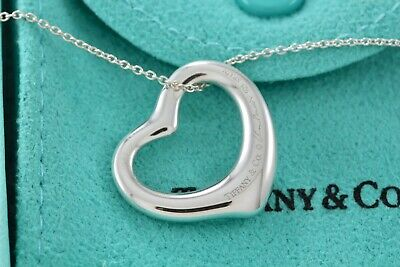 396590402f793 100% AUTHENTIC TIFFANY & Co. Elsa Peretti Silver Open Heart Pendant 16