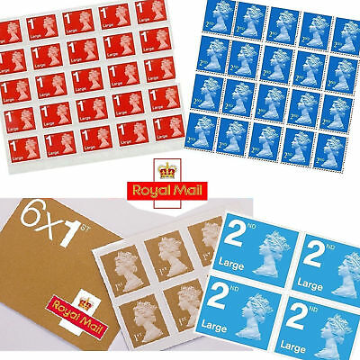 Self Adhesive Royal Mail 1st Class 2nd class Letter Large Letter Postage Stamps