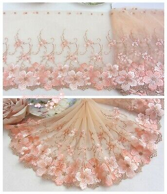 """7.5""""*1Y Embroidered Tulle Lace Trim~Peach Pink+Gold Taupe+Icy Pink~Spring Blooms"""