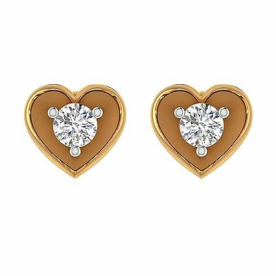 14k Yellow Gold 0.22 CT Solitaire Cut Diamond Studs Round Earrings
