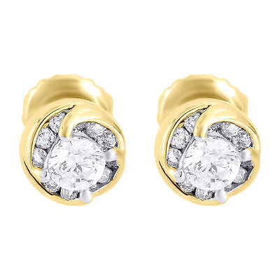 14K Yellow Gold Cut Diamond Earrings Round Solitaire Studs 0.50 CT .