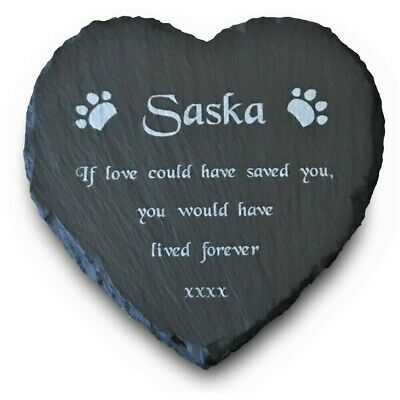 Personalised Engraved Pet Memorial Slate Stone Grave Marker Plaque for Cat/ Dog