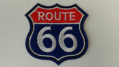 """1 pc Red/Blue Route 66 emb patch sew/iron-on H.3-1/2"""" W.3-3/8"""