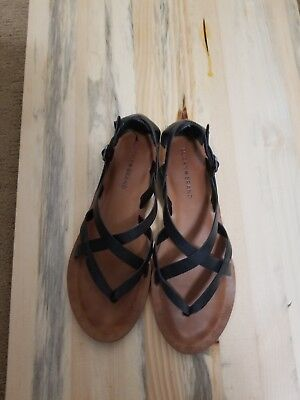 ac7d207529580a Lucky Brand Women s Ainsley Strappy Thong Sandal Black Leather Thong Sandals  7.5