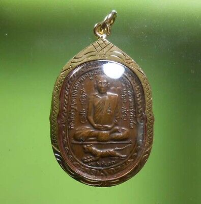 Real Lp Sood With Tiger Old Thai Buddha Amulet Very Rare !!!