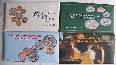 1992, 1993, 1994 & 1995 US Mint Uncirculated Coin Sets + 3 FDC's