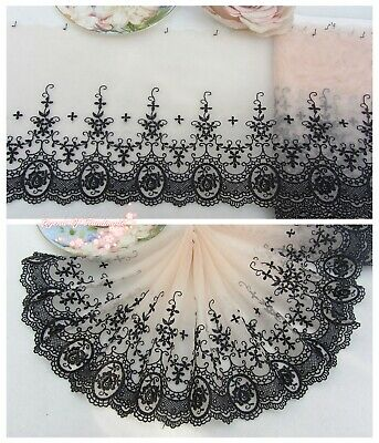"""7""""*1Y Embroidered Floral Tulle Lace Trim~Cream Peach+Black~Rose Romance~SALE~"""