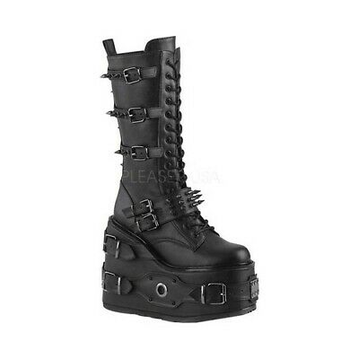 e280376b6b7a NEW DEMONIA SWING Strapped Iridescent Platform Boots in Black Green ...