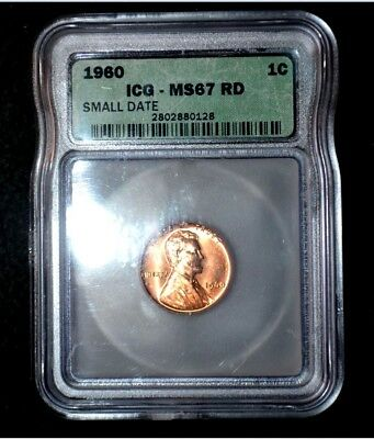 1960-P Lincoln Cent**Small Date**MS67 RED**REGISTRY GRADE**ICG*well below book !
