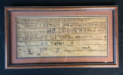 Antique Sampler Early American Sophie Age 11 19th Century Embroidery Art