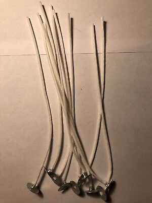 Pack 10 Pre Waxed Candle Wicks for Candle Making With Sustainers - 15cm Long UK