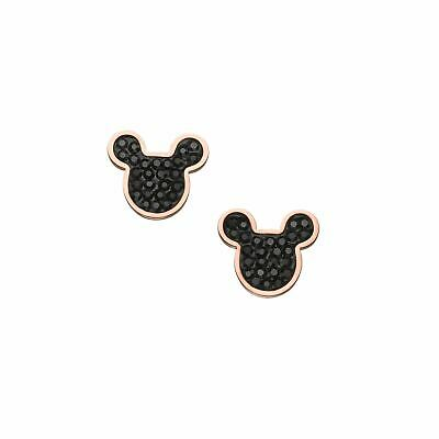 Disney Official Mickey Mouse Sparkling Earrings Black/Rose Gold Jewelry