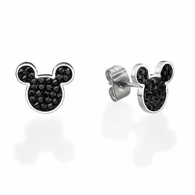 Disney Official Mickey Mouse Black Sparkling Earrings Jewelry for Women & Girls