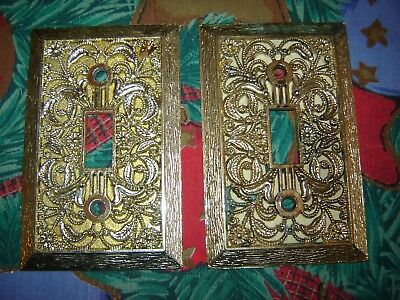 2 Vintage Filigree Brass Plated Gold Tone Single Light Switch Plate Covers