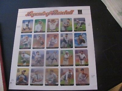 U.s. 2000 Legends Of Baseball Sheet #3408 Po Fresh  Mnh Fv $6.60