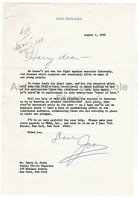 Joan Crawford Signed (Autographed) correspondence to Harry Evans ! Actress