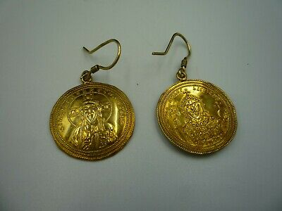 Earrings With Byzantine Coin, New, Not Antique, Sterling Silver 925+Gold-Plated