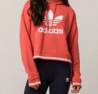0764a548 ADIDAS ORIGINALS TREFOIL NWT Women Active Cropped Hoodie Sweatshirt  Oversized L