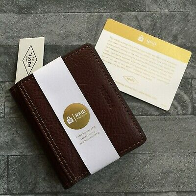 Fossil Brown Leather Cardholder & Money Clip With Rfid Identity Protection Bnwt