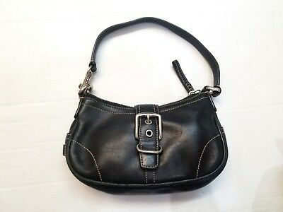 9705930e4e32 COACH 7542 Mini Hampton Black Leather Small Hobo Handbag Shoulder Bag  Pre-owned