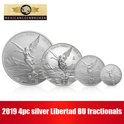 "2019 Mexico 4pc Silver Libertad Coins .999 Fine ""Treasure Coins of Mexico"""