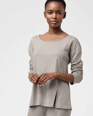 ab54e3406e Eileen Fisher Long-Sleeve Vented Sleepwear Pajama Top Oyster Gray S 8 10 NWT