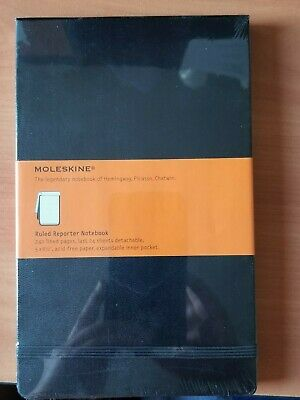 "Moleskine Ruled Reporter Notebook 5"" x 8.25""  One Notebook 240 Acid Free Pages"