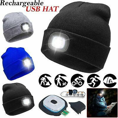 Unisex LED Beanie Hat With USB Rechargeable Battery High Powered Head Lamp Light
