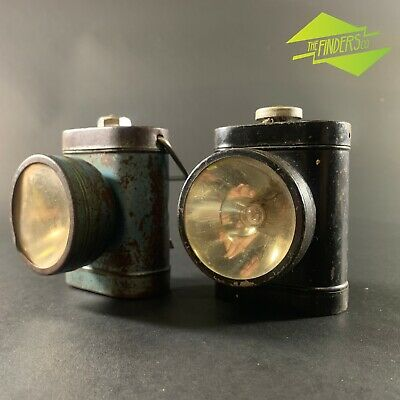 LOT x2 VINTAGE c.1930's EVEREADY BATTERY-OPERATED BICYCLE TORCH LANTERN FLASH