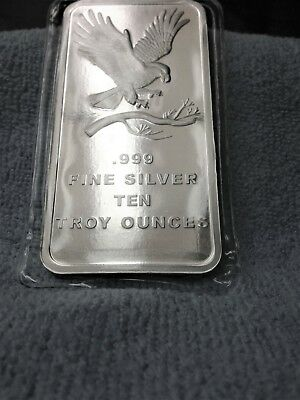 10 oz. SilverTowne Eagle Silver Bar (Brand New-Mint BU Condition) Plastic Sealed