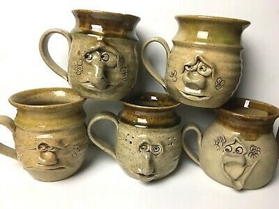 Pretty Ugly Pottery Tankard Mug Funny Face Quirky Cafe Gift Cup Coffee Present