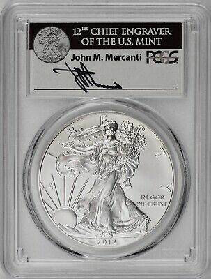 2012-W Silver American Eagle Burnished PCGS SP70 First Strike Mercanti Signature