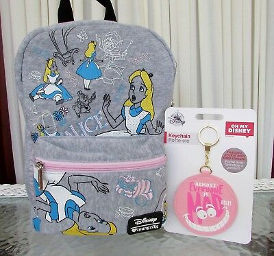 2a2a80dbd4 Disney Loungefly Alice in Wonderland Backpack Bag Cheshire Cat Keychain NWT