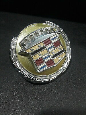 76 77 78 79 Cadillac Seville Trunk Lock Crest Emblem Assembly GOLD NOS