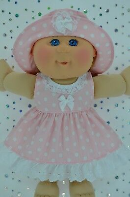 "Play n Wear Doll Clothes To Fit 14"" Cabbage Patch  PINK POLKA DOT DRESS~HAT"