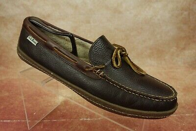 ddc00c89be3b LL Bean Brown Leather Fleece Lined Moccasin Boat Shoe Slippers Mens Size 11M  US