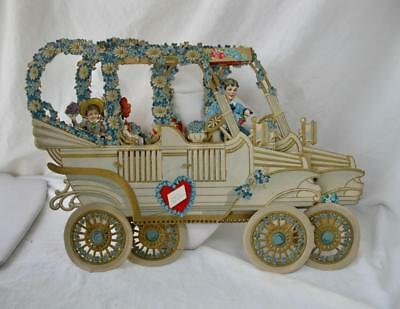 """Rare 3-D Car Valentine German Victorian Embossed Die Cut Fold Out 14"""" x 10"""""""