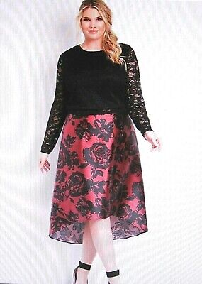 Maurices~New With Tags~Red & Black Combo Two Piece High Low Dress~Plus Size 1XL
