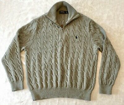 6011cf777 Mens Polo Ralph Lauren 1 2 Zip Sweater Gray Cable 100% Cotton RN 41381